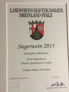 Die Siegerurkunde zum Siegerwein 2015