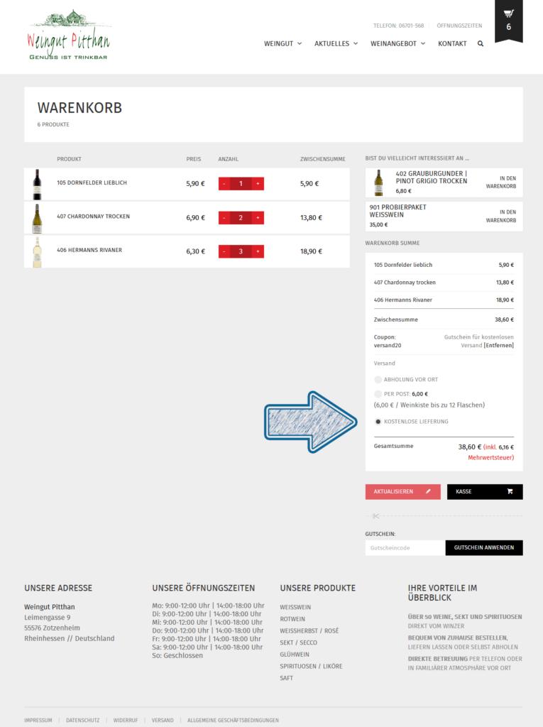 Gutscheineingabe-Pitthan-Warenkorb-kostenlose-lieferung